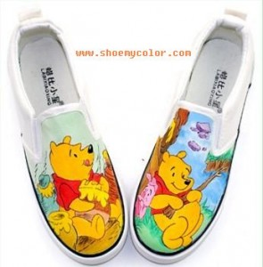 Cute Winnie the Pooh on Custom Canvas Sneakers for Kids