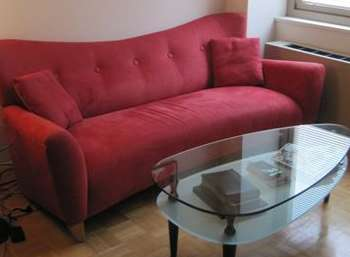 Red Suede Sofa With Two Matching Pillows Ottomans
