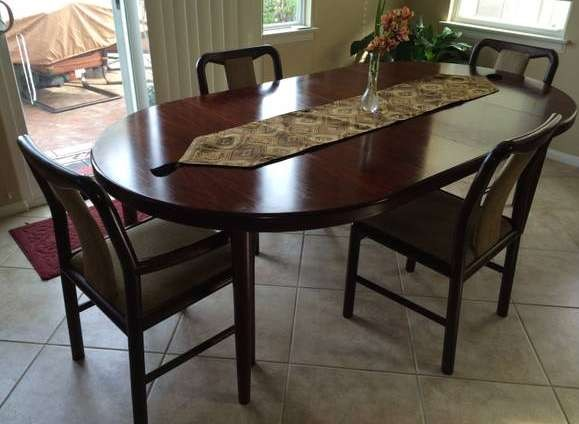 Rose Wood Oval Dining Table with Chairs