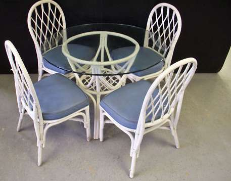 Glass Top Wicker Dining Table + 4 Chairs