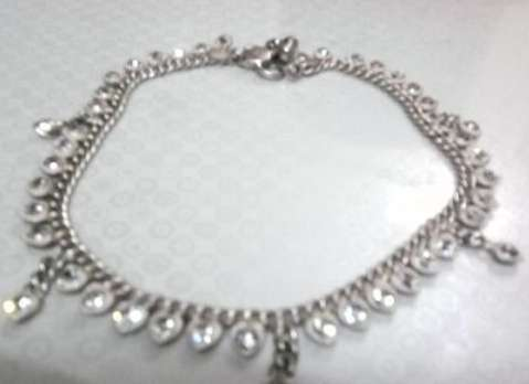 Silver Anklet with Sterling Stones